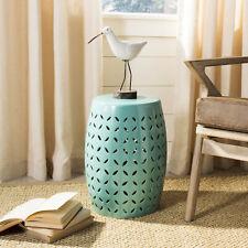 Safavieh Decorative Garden Stool Seat Plant Stand Indoor Home Ceramic Light Blue
