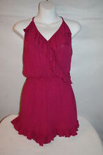 7243cddeabe3 Junior Womens MAGENTA ROMPER SHORTS V-Neck RUFFLED TRIM Soft Fabric RUE 21  Sz L