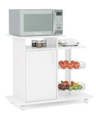 Boahaus White Kitchen Storage Cabinet Fruit Bowl, Wheel Base & Microwave Stand