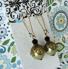 Victorian Art Nouveau Style Olive Green Pearl Black Crystal Bronze Earrings