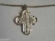 """NOS 1.25"""" SILVER TONE CROSS PENDANT NECKLACE JESUS IM A CATHOLIC CALL A PRIEST"""