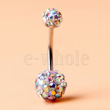 Double Ball Belly Navel Ring Hm White Change Color Rhinestone Crystal Disco