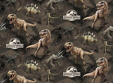 FAT QUARTER  JURASSIC PARK DINOSAUR DINO TERRAIN QUILTING 100% COTTON FABRIC  FQ