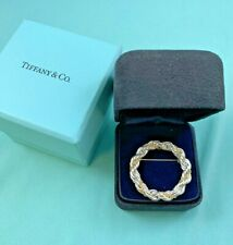 TIFFANY & CO. 18K Gold  & Sterling Silver Rope Chain Wreath Brooch
