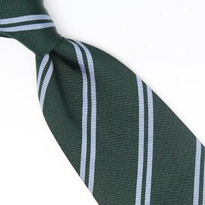 La Sartoria Mens Silk Cotton Necktie Dark Green Light Blue Dual Stripe Woven Tie