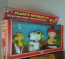 Vintage Peanuts Snoopy Charlie Brown & Woodstock Aviva Motorized Toy NIB