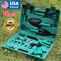 10PC Gardening Tool Set Kits Plant Yard Garden DIY Rake Shovel Spray Bottle Case