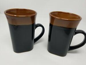 Royal Norfolk Stoneware Coffee Mug Dishwasher/Microwave Safe Set of 2 Black