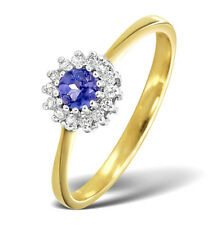 Tanzanite and Diamond Ring 18k Yellow Gold Round Cluster Engagement Certificate