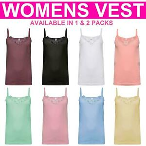 Ladies Plain Vest Top Lace Trim Neck Design Cami Tank Strap 100% Cotton Camisole