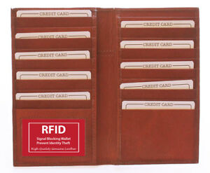 RFID Block Leather Bifold Long Wallet 19 Card ID Checkbook Cover Holder Brown