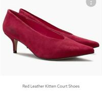 ladies next red leather kitten court heel shoes size 41 7  rrp £55