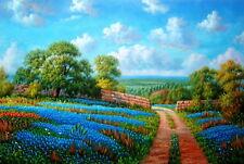 Landscape Texas Bluebonnets 100% Handmade Oil Painting on Canvas 24X36 Inch