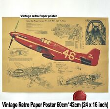Large Wall Retro Vintage Fighter Air Plane P51 Mustang Poster Design Bar Gifts