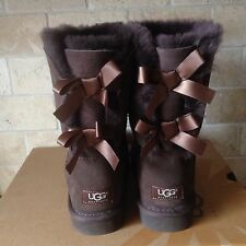 UGG SHORT BAILEY BOW CHOCOLATE SUEDE SHEEPSKIN BOOTS SIZE US 11 WOMENS