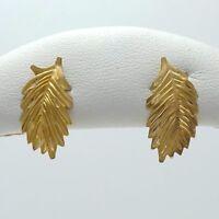14K Gold Diamond Cut Fern Leaf Leaves Stud Earrings