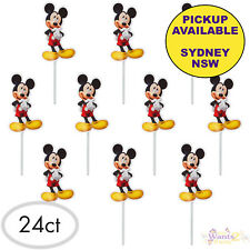 MICKEY MOUSE PARTY SUPPLIES 24 CUPCAKE PICKS DECORATIONS BIRTHDAY CAKE TOPPERS