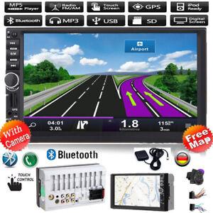 """7"""" AUTORADIO mit GPS Navigation NAVI BLUETOOTH  DOPPEL 2 DIN MP5 + EU Karte"""