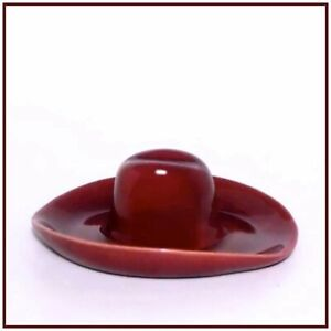 PADRE POTTERY <> Cowboy Hat Ashtray <> Maroon Glaze <> Excellent Condition