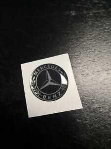 1 Autocollant Résine Autocollant 3D Mercedes Old 70 MM Chrome Noir