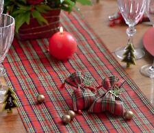 Red Tartan tablerunner Christmas NYE dinner buffet party table decor