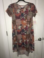 Lularoe XS Carly Dress Multicolor Patchwork Stars Stripes Roses