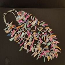 """Vintage  Necklace 4 Strand Shell Glass Bead Peach Blue Yellow Pink Hook 12"""""""