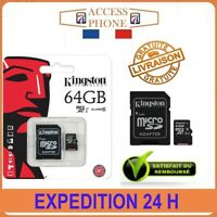 CARTE MÉMOIRE MICRO SD SDXC 64 GO GB GIGA KINGSTON + ADAPTATEUR