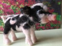 Needle felted wool pig mini sculpture one of a kind