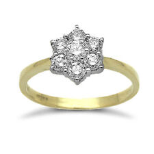 Cluster Yellow Gold Round Fine Diamond Rings