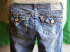 "GRACE IN LA Jeans Size 3 x 29""L Super HOT Metallic SILVER & RHINESTONE BLING!"