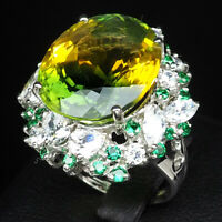 GREEN YELLOW AMETRINE RING OVAL 20.10 CT. SAPPHIRE GARNET 925 SILVER SIZE 6.75