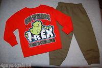 Toddler Boys ORANGE SWEAT SHIRT State Champs T-REX Army Green Pants 2T 3T 4T 5T