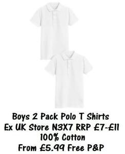 BOYS 2 PACK SCHOOL POLO T SHIRTS PIQUE EX UK STORE PREMIUM 3-16Y COTTON NEW