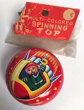 VINTAGE JAPAN TIN ROBOT SPACE ASTRONAUT SPINNING TOP YO YO EXCELLENT - POOR PKG