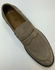 Eleventy Suede Slip On Penny Loafers Mens Taupe US 10.5 Made in Italy NIB $495