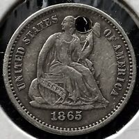 1865 S Seated Liberty Half Dime 5c Better Grade XF Detail Very RARE Date  #11746
