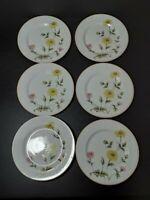 "6  Castlecourt Salad Plates Chrysanthemum Pattern Fine China - 7.5"" / Japan"