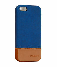 CYGNETT THREAD SNAP ON DUO TONE CASE FOR IPHONE 5/5S BLUE DENIM NATURAL LEATHER
