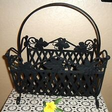 Heavy Vintage Beautiful Detailed Iron Metal Magazine Rolled Towel Log Rack