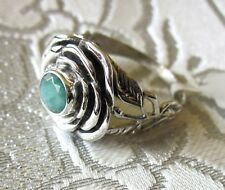 Genuine Emerald, 925 Sterling Silver Flower Ring, size 9 --- 1.3cts, 5.3 grams
