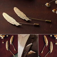 Fashion Men Women Gold Silver Feather Lapel Pin Stick Badge Suit Shirt Brooches