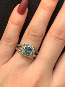 DAVID YURMAN 7MM PETITE ALBION RING WITH HAMPTON BLUE TOPAZ & DIAMONDS WITH BOX