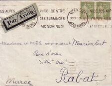 TYPE PAIX - PAIRE 75c SUR LETTRE AVION POUR RABAT AU MAROC DE NICE LE 30-8-1933