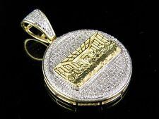 "10K Yellow Gold Genuine Diamond Last Supper Medallion Pendant Charm 1/2 Ct 1.4"""