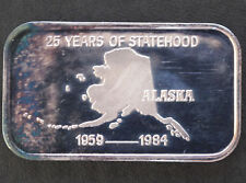 1984 Silver Towne Alaska 25 yrs. of Statehood Silver Art Bar ST-34V Lot P1606