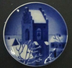 Royal Copenhagen Aluminia Christmas plaquette Church with Bell 8 cm