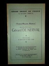Gérard DE NERVAL - 1955 - Grand Orient de France  GODF Franc Maçon Foyer Philo.