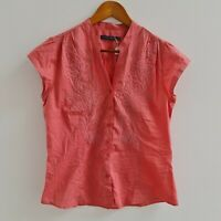 Sportscraft Womens Pink Embroidered Blouse Size 10 Short Sleeve Piping Shirt Top