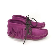 Bright Pink Fringe Soft Sole Short Ankle Lace Up Indian Moccasin Boots Womens 6